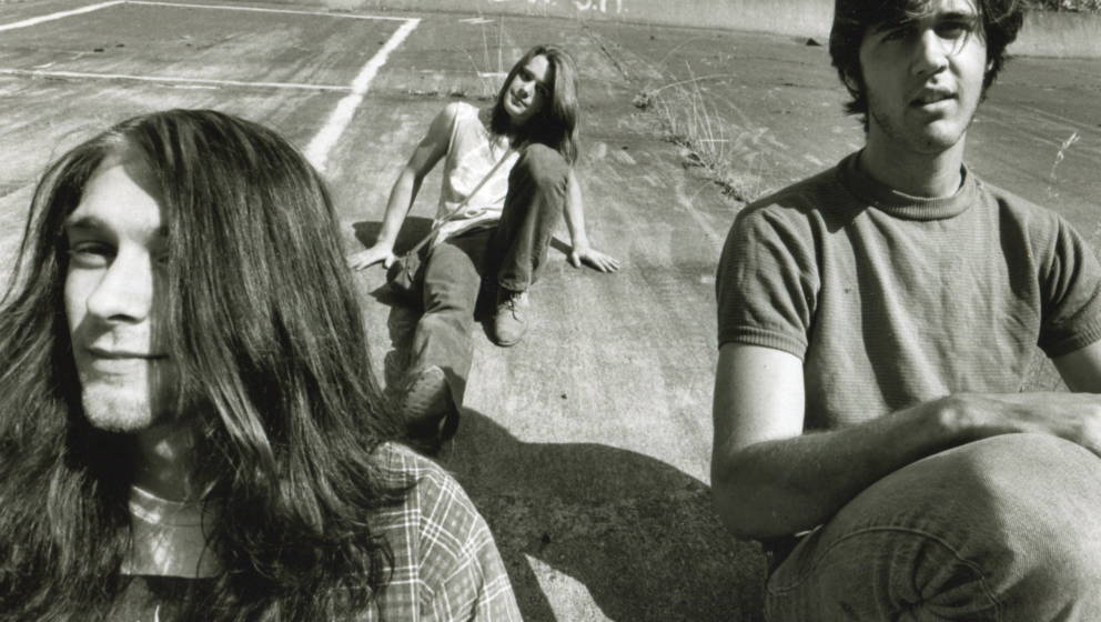 Group portrait of American grunge band Nirvana in Seattle, circa 1989. L-R Kurt Cobain, Chad Channing, Krist Novoselic. (Phot