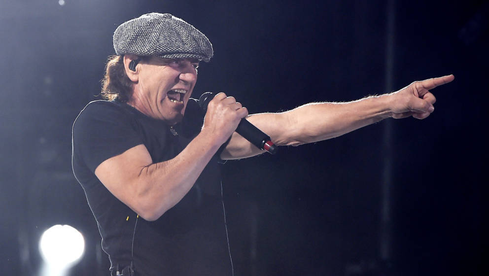 INDIO, CA - APRIL 10:  Musician Brian Johnson of AC/DC performs onstage during day 1 of the 2015 Coachella Valley Music &