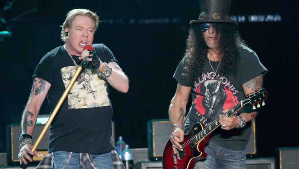 AUSTIN, TEXAS - OCTOBER 04:  Axl Rose (L) and Slash of Guns N' Roses perform in concert during weekend one of the 2019 ACL Fe