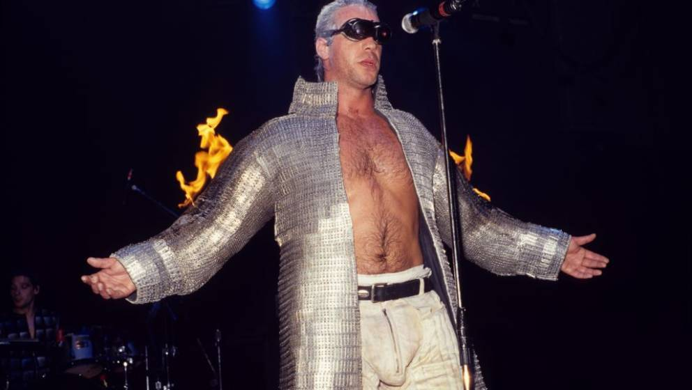 LOS ANGELES - APRIL 27:  Rock band Rammstein performs at the Palace in Los Angeles, California on April 27, 1998. (Photo by J
