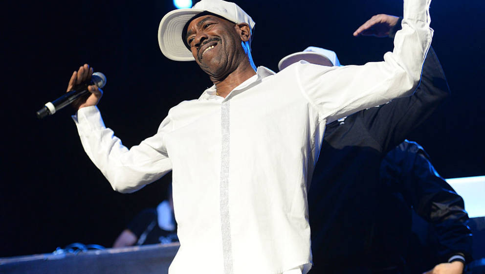 LOS ANGELES, CA - JULY 22:  Rapper Kurtis Blow performs onstage at the Art of Rap festival at Hollywood Palladium on July 22,
