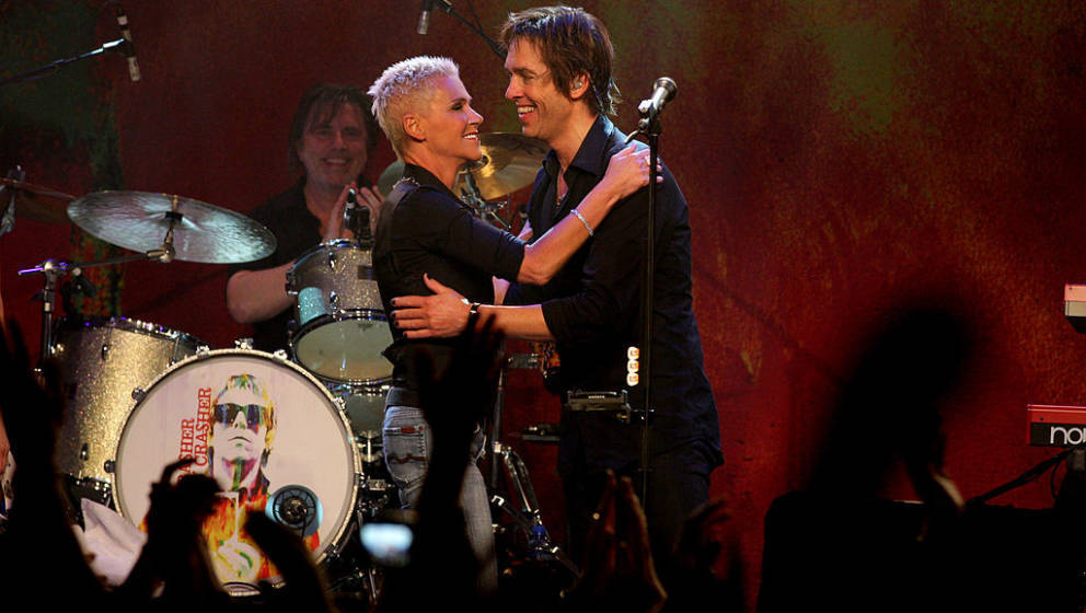 Marie Fredriksson (L) reunites with Roxette member Per Gessle during his concert at Melkweg on May 6, 2009 in Amsterdam, Neth