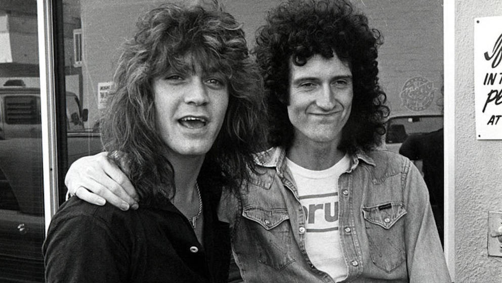Eddie Van Halen with Brian May of Queen (Photo by Ron Galella/Ron Galella Collection via Getty Images)