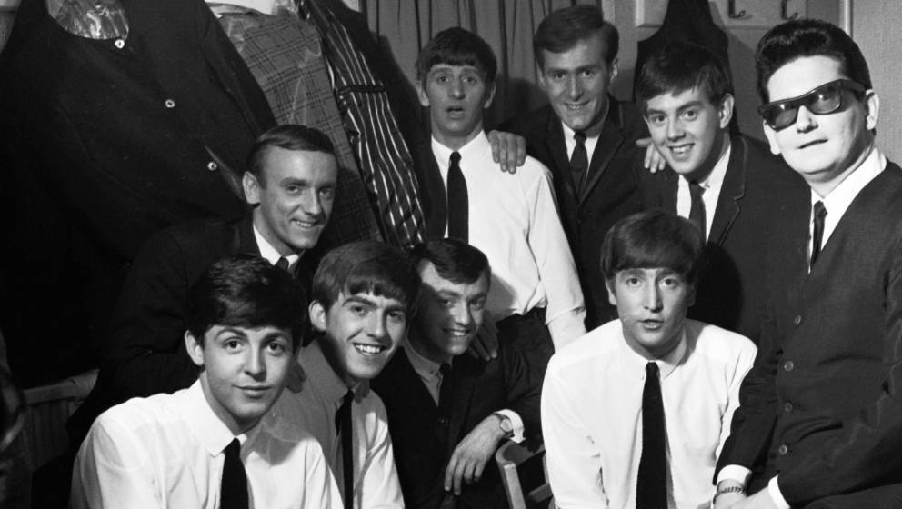 The Beatles pose with Roy Orbison and Gerry And The Pacemakers backstage in their dressing room during a UK tour, L-R: Paul M