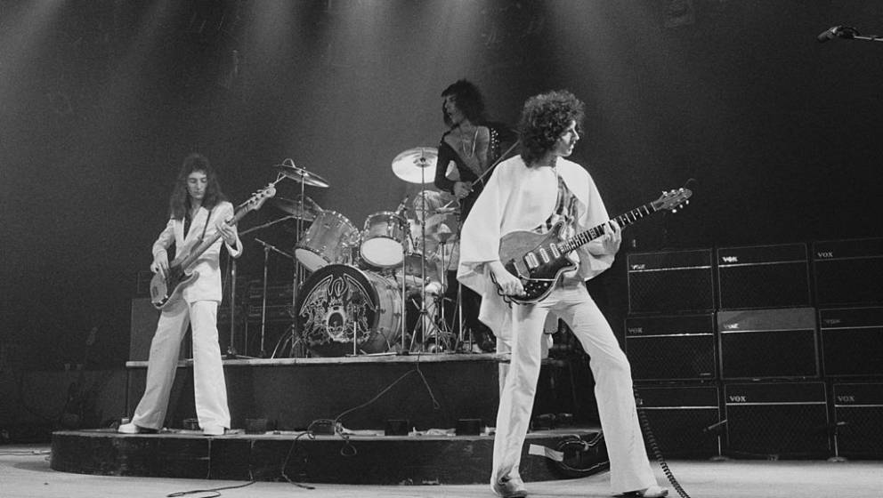 John Deacon, Roger Taylor, Freddie Mercury and Brian May of Queen perform on stage at Bournemouth Winter Gardens, Bournemo