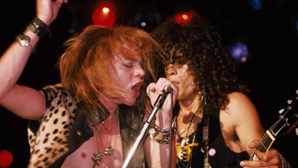 Axl Rose und Slash von Guns N'Roses beim Konzert im Troubadour am 28. Februar 1986