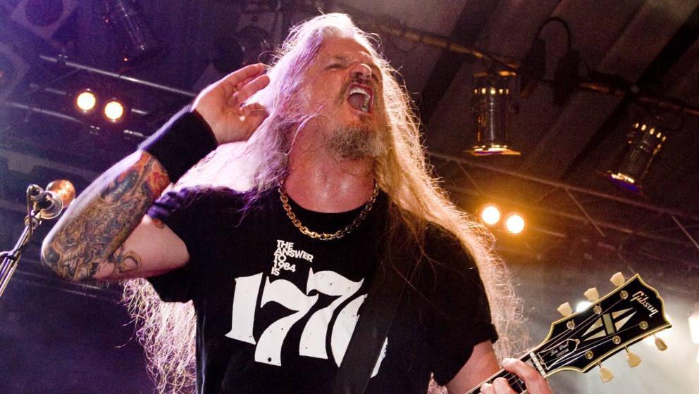 PRESTATYN, UNITED KINGDOM - MARCH 13: Jon Schaffer of American heavy metal band Iced Earth, live on stage at Hammerfest, Marc