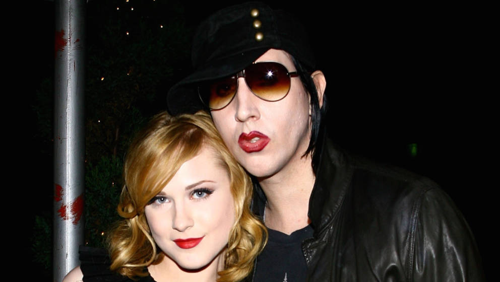 NEW YORK - SEPTEMBER 13:  (Exclusive Access) Actress Evan Rachel Wood and musician Marilyn Manson arrive for the after party