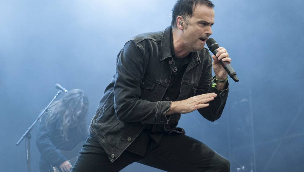 BURTON UPON TRENT, ENGLAND - AUGUST 11:  Hansi Kürsch of Blind Guardian performing live on stage on day 1 at Bloodstock Fest