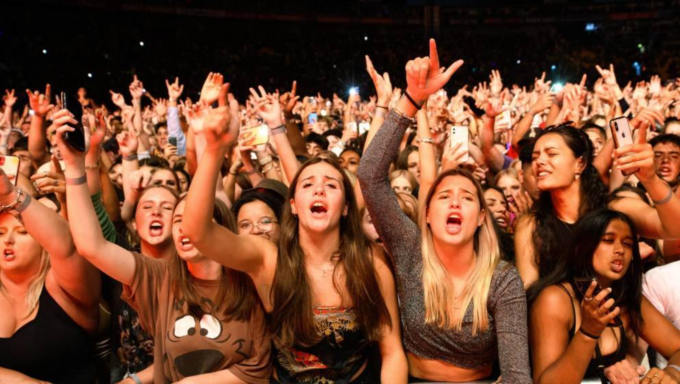 Fans attend a Six60 performance at Sky Stadium on February 13, 2021 in Wellington, New Zealand.