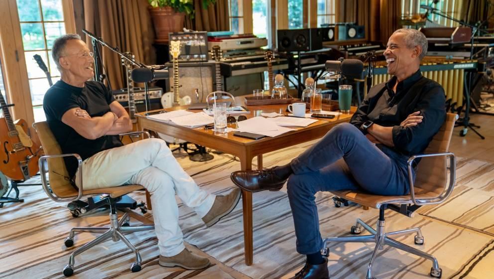 Bruce Springsteen und Barack Obama bei der Aufnahme ihres neuen Podcasts.