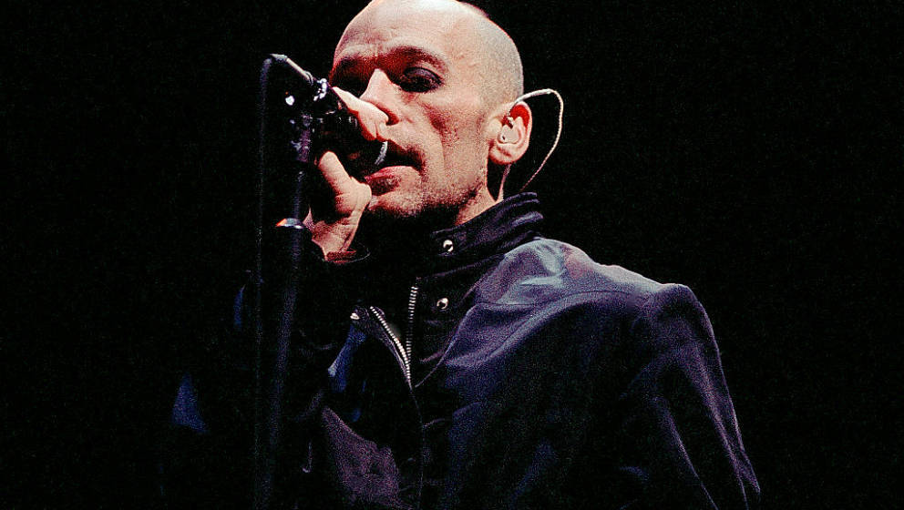 Atlanta - November 11: Michael Stipe of R.E.M. performs at The Omni Coliseum in Atlanta, Ga. on November 11, 1995 (Photo By R