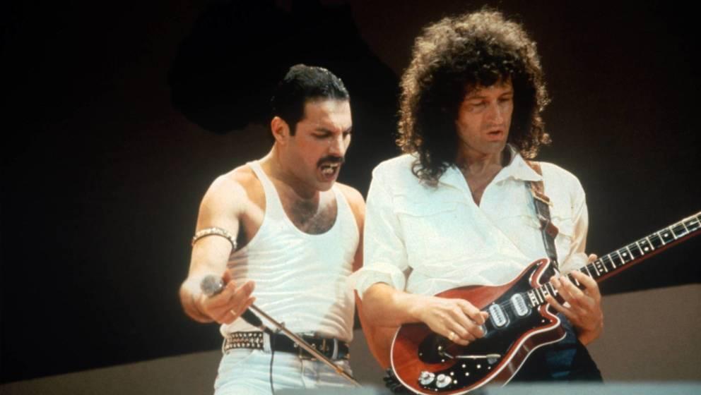 Freddie Mercury und Brian May 1985 am Live-Aid-Festival.
