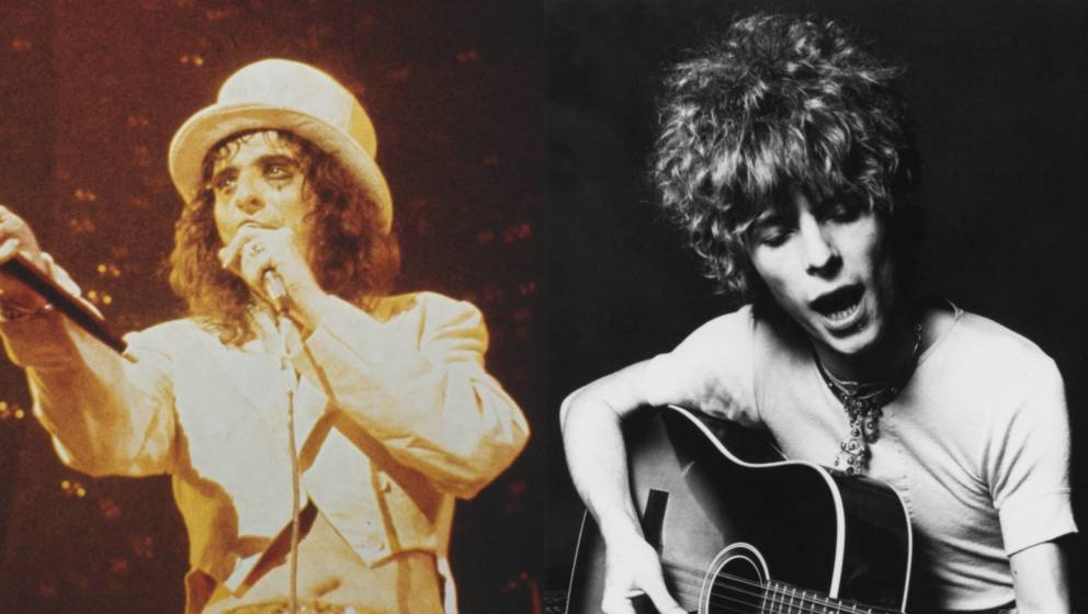 Alice Cooper und David Bowie in ihren jungen Jahren.