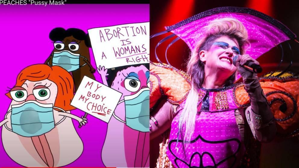 Links ein Screenshot aus Peaches' neuem Video zum Song 'Pussy Mask'