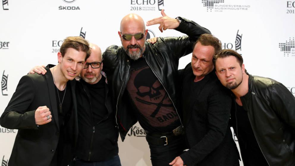 BERLIN, GERMANY - APRIL 12:  Rupert Keplinger, Achim Faerber, Alexander Wesselsky, Jochen Seibert and Juergen Plangger of the
