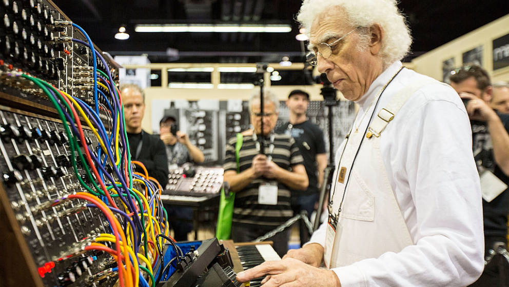 ANAHEIM, CA - JANUARY 25:  Producer/musician Malcolm Cecil demonstrates a Moog synthesizer at The NAMM Show on January 25, 20
