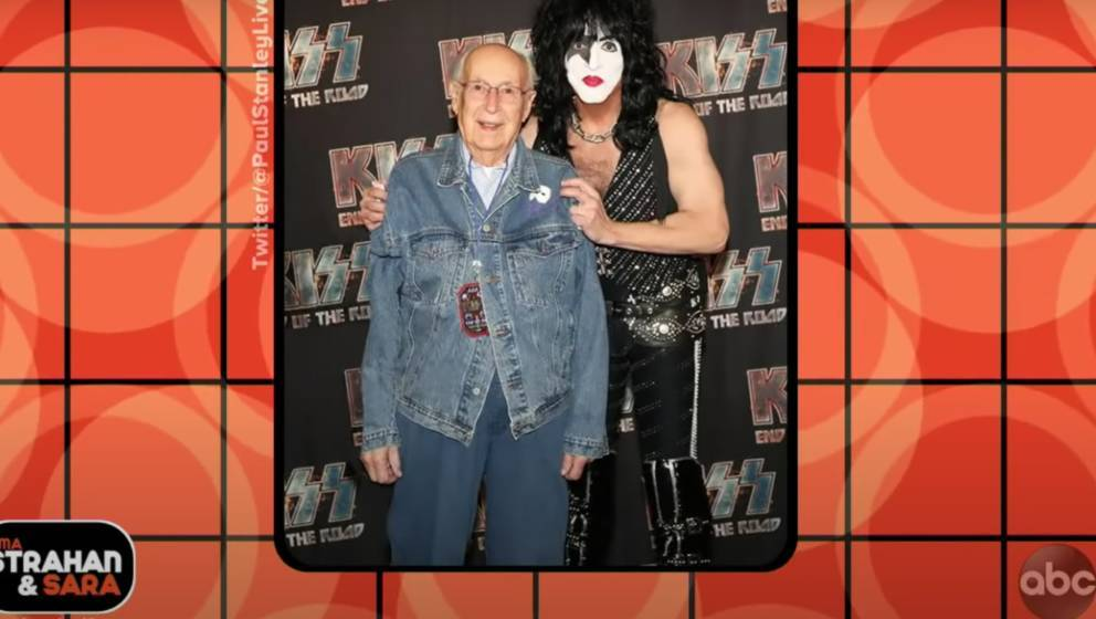 "Youtube-Screenshot aus: ""Paul Stanley's Life Advice And 99-year Old Father"" / Strahan, Sara and Keke"