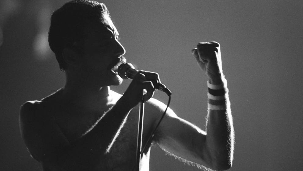 """Queen-Sänger Freddie Mercury während der """"Hot Space""""-Tour"""