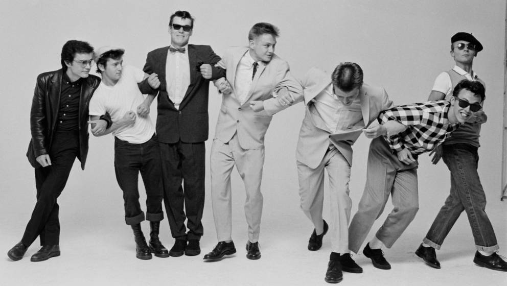 Madness im Jahr 1982: Chris Foreman, Lee Thompson, Mike Barson, Chas Smash, Suggs, Mark Bedford und Daniel Woodgate.