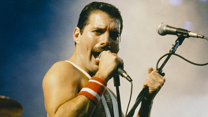 Freddie Mercury performing with Queen at the Rock in Rio festival, Brazil, January 1985. The festival ran for 10 days and ove