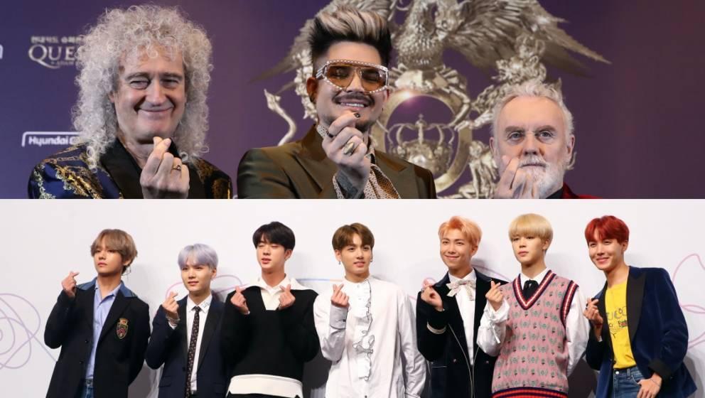 Brian May, Adam Lambert und Roger Taylor lobten BTS in einer Pressekonferenz. Auf den Bildern zeigen beide Bands das 'Herz'-S