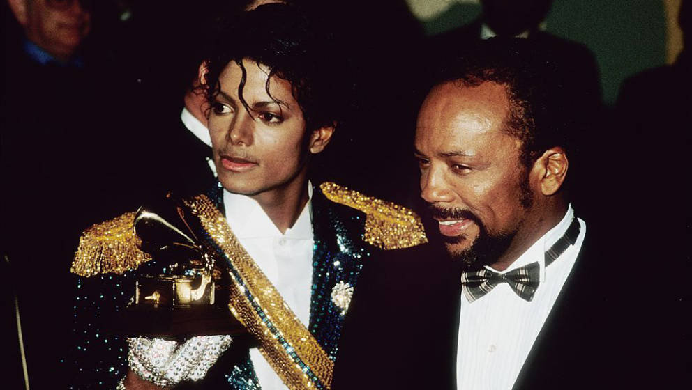LOS ANGELES - FEBRUARY 18:  Michael Jackson and his producer Quincy Jones pose with their Grammys on February 28 1984 at the