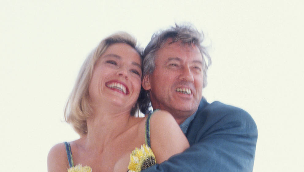 CANNES, FRANCE MAY 1992: Sharon Stone and Paul Verhoeven attend the 45th Cannes film Festival in May 1992, in Cannes, France.