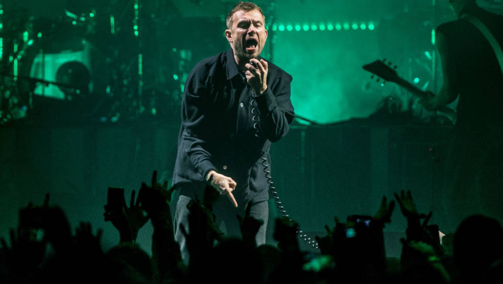 LONDON, ENGLAND - DECEMBER 04: Damon Albarn of Gorillaz performs live on stage at The O2 Arena on December 4, 2017 in London,
