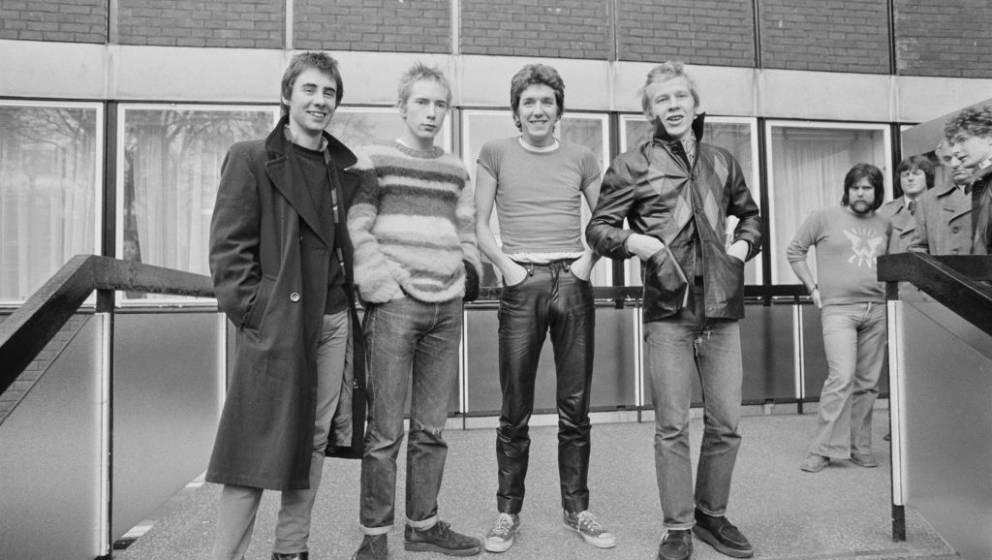 British punk rock band The Sex Pistols, UK, 2nd December 1976; they are (L-R) Glen Matlock, Johnny Rotten, Steve Jones, Paul