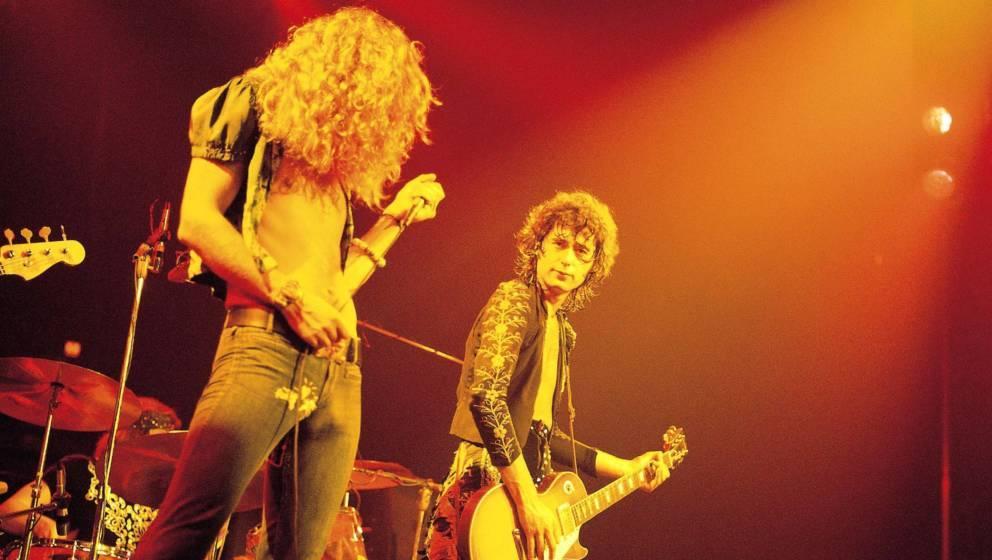 Robert Plant und Jimmy Page während des dritten Konzerts im Madison Square Garden in New York 1973