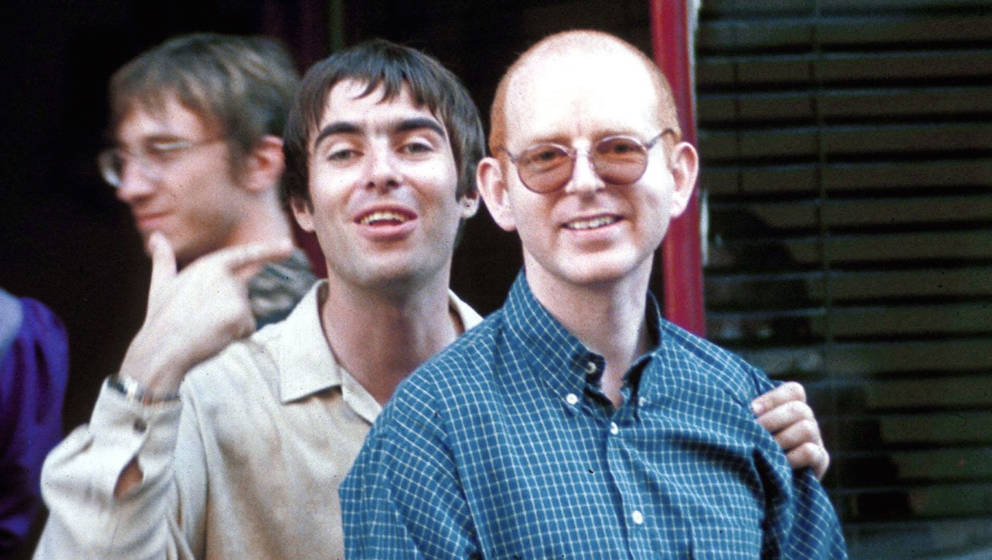 Liam Gallagher With Alan Mcgee Outside Ronnie Scotts, London, Britain - Jul 1997, Liam Gallagher And Alan Mcgee , London , Br
